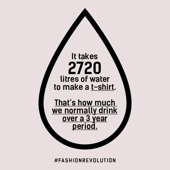 Se necesitan 2.720 litros de agua para hacer una camiseta. Esta es la cantidad que una persona bebe en un periodo de 3 años.