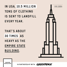 En Estados Unidos, 10,5 millones de toneladas de ropa acaban en vertederos cada año. Este peso es unas 30 veces mayor que el peso del Empire State.