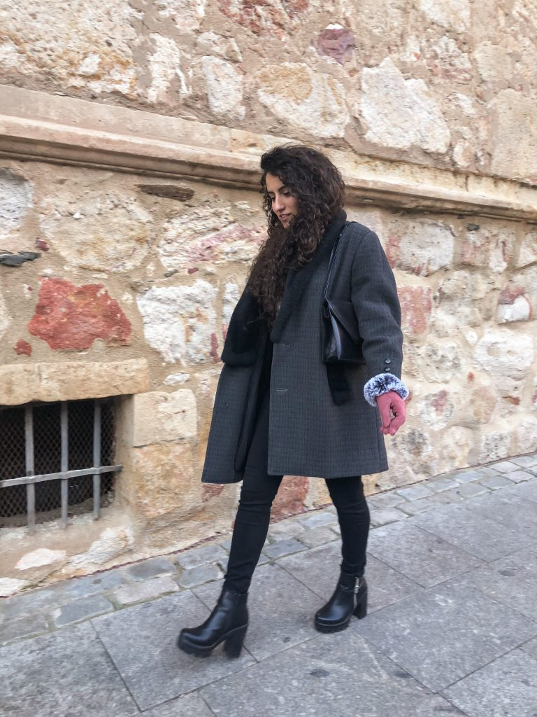 slow fashion outfit with a mid-lenght wool coat