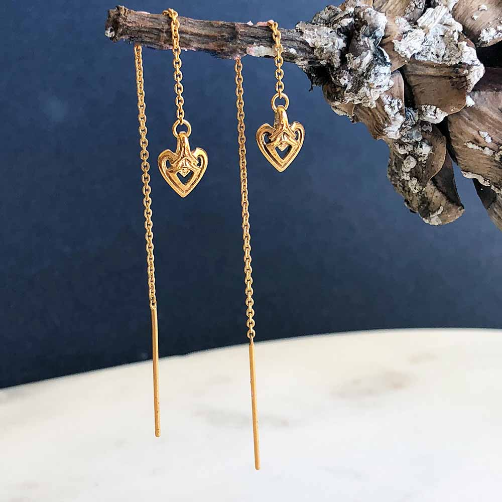Astor+Orion Heart Gold Threader Earring