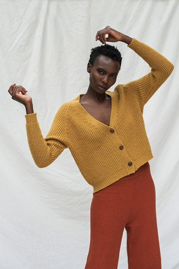 L'Envers Anna Merino Wool Cardigan in Mustard